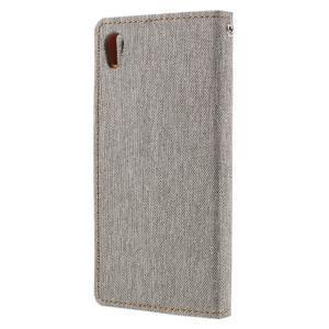 Canvas PU kožené/textilní pouzdro na mobil Sony Xperia XA - šedé - 2