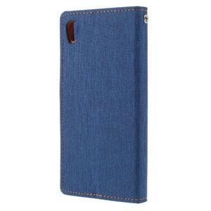 Canvas PU kožené/textilní pouzdro na mobil Sony Xperia XA - modré - 2
