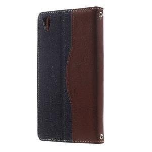 Jeansy PU kožené/textilní pouzdro na Sony Xperia XA - tmavěmodré - 2