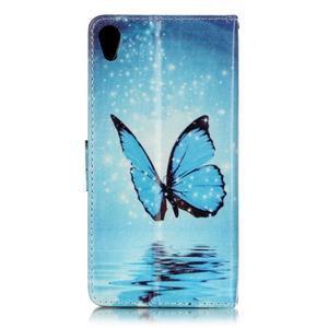Emotive PU kožené knížkové pouzdro na Sony Xperia XA - modrý motýl - 2