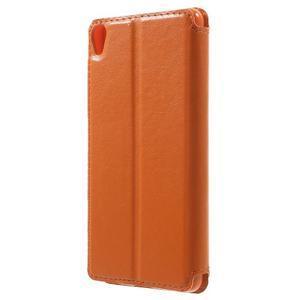 Royal PU kožené pouzdro s okýnkem na Sony Xperia XA - oranžové - 2