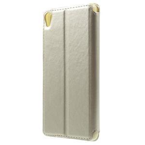 Royal PU kožené pouzdro s okýnkem na Sony Xperia XA - zlaté - 2