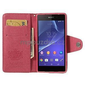 Stylové peněženkové pouzdro na Sony Xperia Z2 - rose - 2