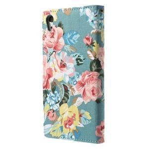 Květinové pouzdro na mobil Sony Xperia Z2 - modré - 2