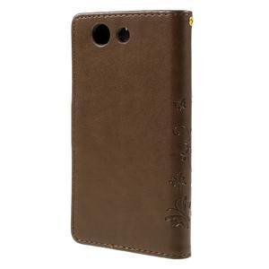 Butterfly PU kožené pouzdro na mobil Sony Xperia Z3 Compact - coffee - 2