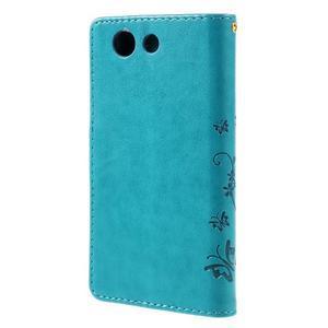 Butterfly PU kožené pouzdro na mobil Sony Xperia Z3 Compact - modré - 2