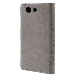 Butterfly PU kožené pouzdro na mobil Sony Xperia Z3 Compact - šedé - 2
