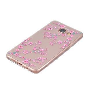 Slim průhledný gelový obal na Samsung Galaxy A3 (2016) - květy svěstky - 2