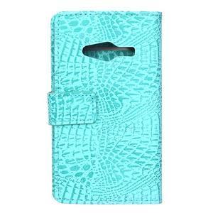 Croco peněženkové pouzdro na Samsung Galaxy Trend 2 Lite - cyan - 2