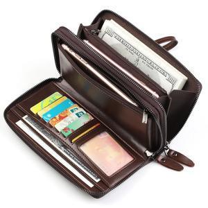 Weix peněženka z pravé kůže s přihrádkami - hnědá - 2