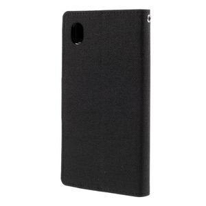 Canvas textilní/koženkové pouzdro na Sony Xperia M4 Aqua - černé - 2