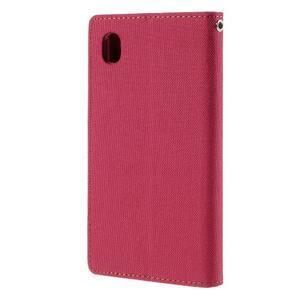 Canvas textilní/koženkové pouzdro na Sony Xperia M4 Aqua - červené - 2