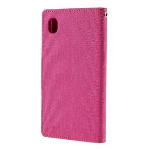 Canvas textilní/koženkové pouzdro na Sony Xperia M4 Aqua - rose - 2