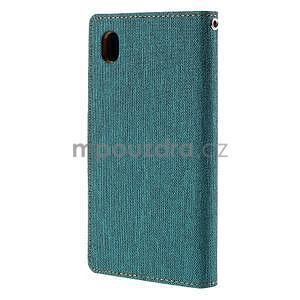 Canvas textilné / koženkové puzdro na Sony Xperia M4 Aqua - zelenomodré - 2