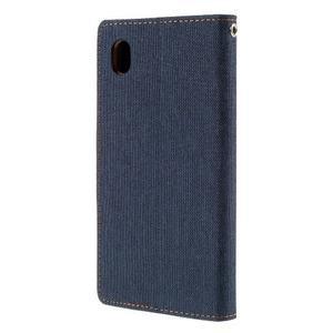 Canvas textilní/koženkové pouzdro na Sony Xperia M4 Aqua - tmavěmodré - 2