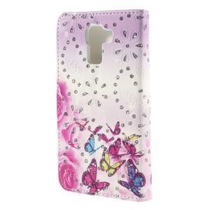 Peněženkové pouzdro s třpytivými flitry pro Huawei Honor 7 - květinoví motýlci - 2