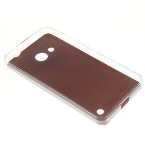 Gelový obal s jemnou koženkou na Microsoft Lumia 550 - zlatý - 2