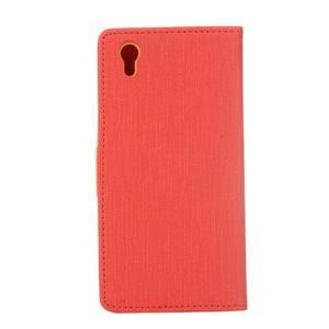 Cloth textilní/koženkové pouzdro na mobil Lenovo P70 - červené - 2