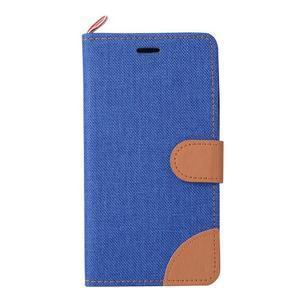 Jeans PU kožené/textilní pouzdro na mobil Lenovo A6000 - tmavěmodré - 2