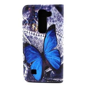 Peneženkové pouzdro na mobil LG G4c - modrý motýl - 2