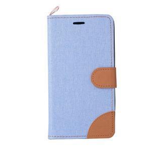 Jeans PU kožené/textilní pouzdro na mobil Lenovo A6000 - světlemodré - 2