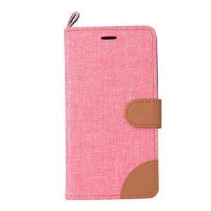 Jeans PU kožené/textilní pouzdro na mobil Lenovo A6000 - růžové - 2