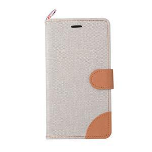 Jeans PU kožené/textilní pouzdro na mobil Lenovo A6000 - šedé - 2