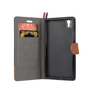 Jeans PU kožené/textilní pouzdro na mobil Lenovo P70 - černé - 2
