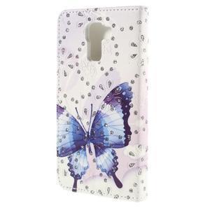 Peněženkové pouzdro s třpytivými flitry pro Huawei Honor 7 - modrý motýl - 2