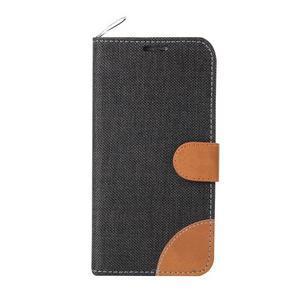 Jeans stylové textilní/PU kožené pouzdro na Samsung Galaxy S6 - černé - 2