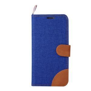 Jeans stylové textilní/PU kožené pouzdro na Samsung Galaxy S6 - modré - 2
