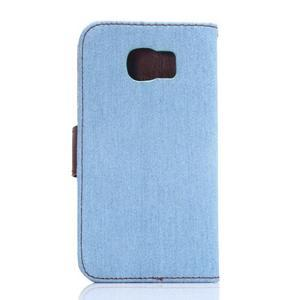 Cloth peněženkové pouzdro pro Samsung Galaxy S6 - světlemodré - 2