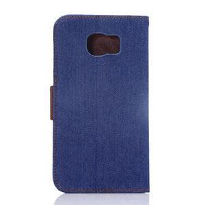 Cloth peněženkové pouzdro pro Samsung Galaxy S6 - tmavěmodré - 2