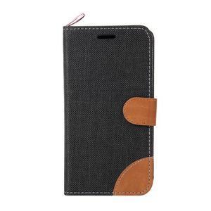 Jeans textilní/koženkové pouzdro na Sony Xperia E4 - černé - 2