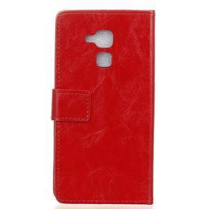 Horse PU kožené pouzdro na mobil Honor 7 Lite - červené - 2