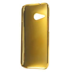 Plastový kryt se zlatým lemem na HTC One mini 2 - stříbrný - 2