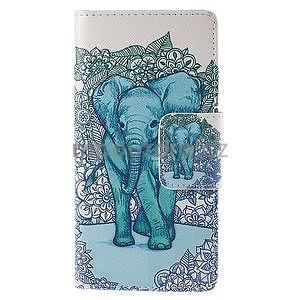 Peněženkové pouzdro Huawei Ascend P8 - modrý slon - 2