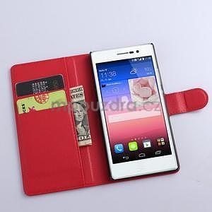 PU kožené peněženkové pouzdro na Huawei Ascend P8 - červený - 2