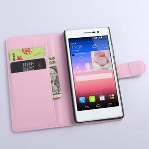 PU kožené peněženkové pouzdro na Huawei Ascend P8 - růžový - 2
