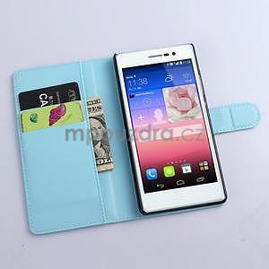 PU kožené peněženkové pouzdro na Huawei Ascend P8 - modrý - 2