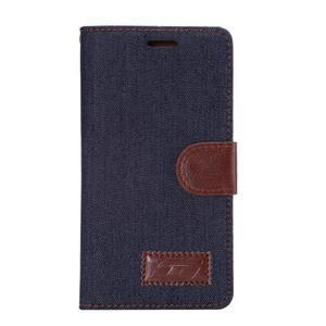 Stylové peněženkové pouzdro Jeans na Huawei Ascend P8 - černomodré - 2