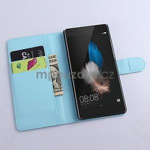 Zapínací peněženkové pouzdro na Huawei P8 Lite - modré - 2