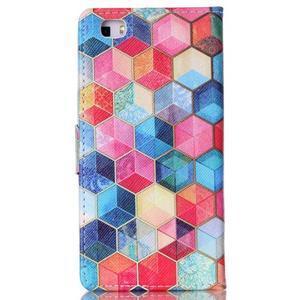 Pouzdro na mobil Huawei P8 Lite - barevné hexagony - 2
