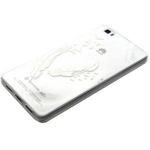 Transparentní gelový obal na Huawei Ascend P8 Lite - ptačí pírka - 2