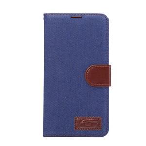 Jeans PU kožené pouzdro na mobil Huawei Mate 8 - tmavěmodré - 2