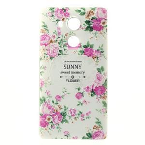 Softy gelový obal na mobil Huawei Mate 8 - květiny na bílém pozadí - 2