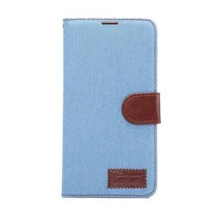 Jeans PU kožené pouzdro na mobil Huawei Mate 8 - světlemodré - 2