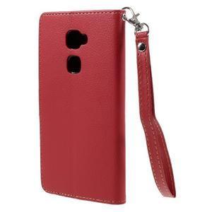 Knížkové PU kožené pouzdro na mobil Huawei Mate S - červené - 2