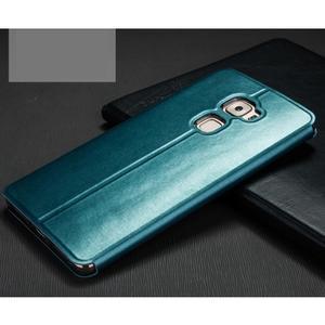 Vintage PU kožené pouzdro s kovovou výstuhou na Huawei Mate S - modré - 2