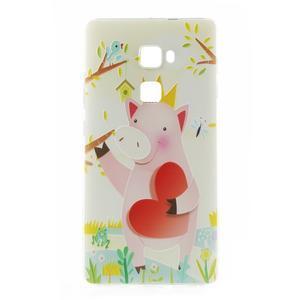 Softy gelový obal na mobil Huawei Mate S - zamilované prasátko - 2